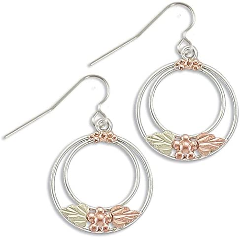 Twice Circle Hoop Earrings, Sterling Silver, 12k Green and Rose Gold Black Hills Gold Motif