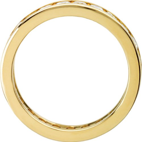 14k Yellow Gold 1 1/4 Cttw Round Diamond Eternity Band, Sizes 4 to 8.5