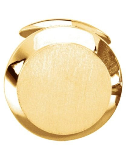 14k Yellow Gold Satin Brushed Round Cuff Link (Single Cuff Link), 20.25MM