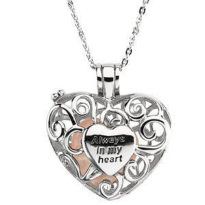 "Always in My Heart Rose Quartz Filigree Locket in Sterling Silver Necklace with 18"" Chain"