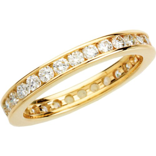 14k Yellow Gold Diamond Eternity Band, Sizes 4 to 8.5