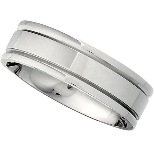 Titanium 7mm Flat Ridged Comfort Fit Band, Size 11