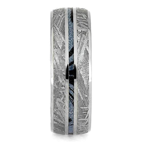 The Men's Jewelry Store (Unisex Jewelry) Gibeon Meteorite, Blue Mokume Gane 7mm Titanium Comfort-Fit Wedding Band, Size 13.75
