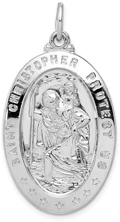 Sterling Silver Saint Christopher Medal Pendant (40X20 MM)