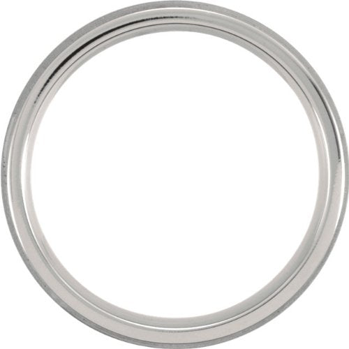 Titanium 7mm Flat Ridged Comfort Fit Band, Size 7