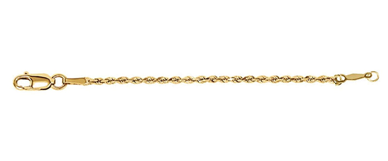 14k Yellow Gold 1.5mm Rope Chain Rope Extender Safety Chain Chain, 4""