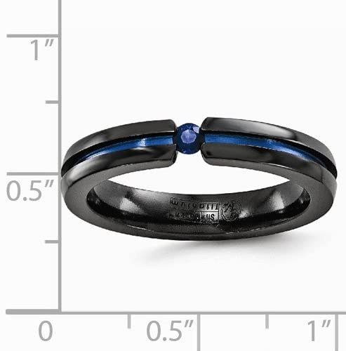 Black Ti Collection Black and Blue Titanium Blue Sapphire 4mm Band