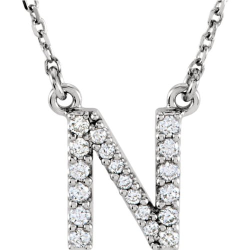 Diamond Initial 'N' Rhodium Plate 14K White Gold (1/6 Cttw, GH Color, l1 Clarity),16.25""