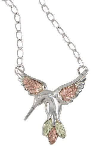 Diamond-Cut Hummingbird Necklace, Sterling Silver, 12k Green Gold, 12k Rose Gold Black Hills Gold, 18""