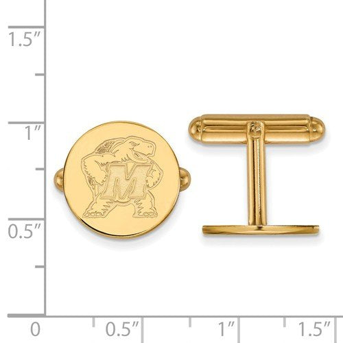 14k Yellow Gold Maryland Round Cuff Links, 15MM