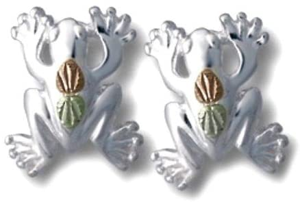Frog Stud Earrings, Sterling Silver, 12k Green and Rose Gold Black Hills Gold Motif