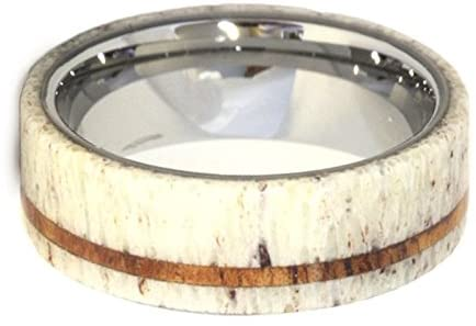 Antler, Oak Wood Pinstripe 8mm Comfort Fit Titanium Band, Size 4