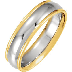 6mm 14k White and Yellow Gold Two-Tone Comfort-Fit Band Size 9