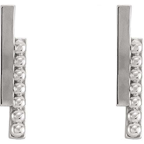 Beaded Bar Earring, Rhodium-Plated 14k White Gold