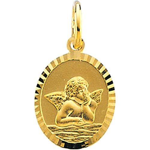 14k Yellow Gold Angel Cherub Pendant (14x12 MM)