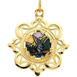 10k Yellow Gold Guardian Angel Framed Enamel Pendant (25.75x25.75 MM)