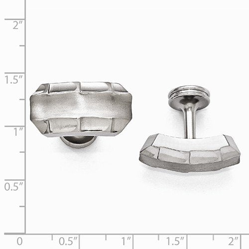 Templar Collection Brushed Grey Titanium Faceted Edges Cuff Links, 13X23 MM