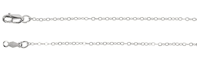 1.2mm 14k White Gold Cable Chain, 16""