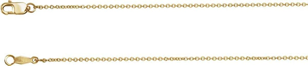 1mm 14k Yellow Gold Solid Cable Chain, 16""