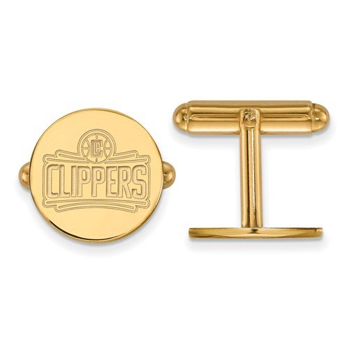 14k Yellow Gold NBA Los Angeles Clippers Round Cuff Links, 15MM