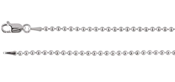 2mm Sterling Silver Bead Chain, 7""