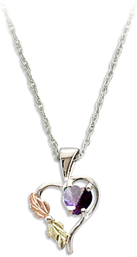 Red-Purple CZ June Birthstone Heart Pendant Necklace, Sterling Silver, 12k Green and Rose Gold Black Hills Gold Motif, 18""