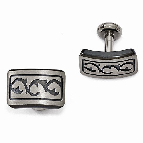 Tribal Collection Brushed Grey, Black Titanium Thorn Cuff Links