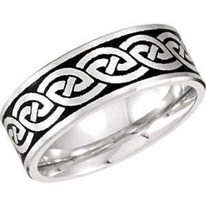 7mm 14k White Gold and Black Intertwined Together Band