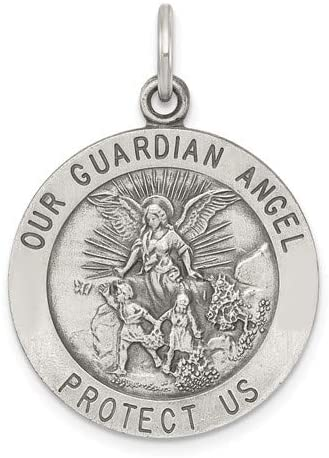 Sterling Silver Antiqued Guardian Angel Medal Pendant (30X22 MM)