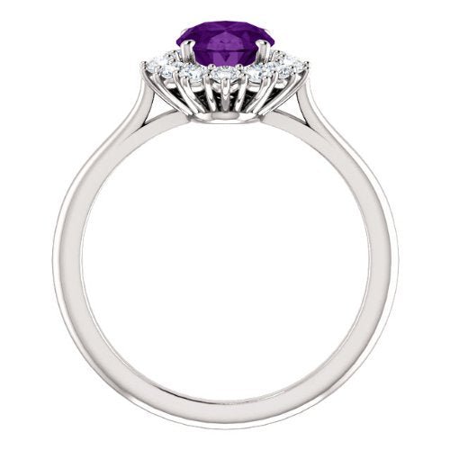 Amethyst and Diamond Halo 14k Yellow Gold Ring, Size 7