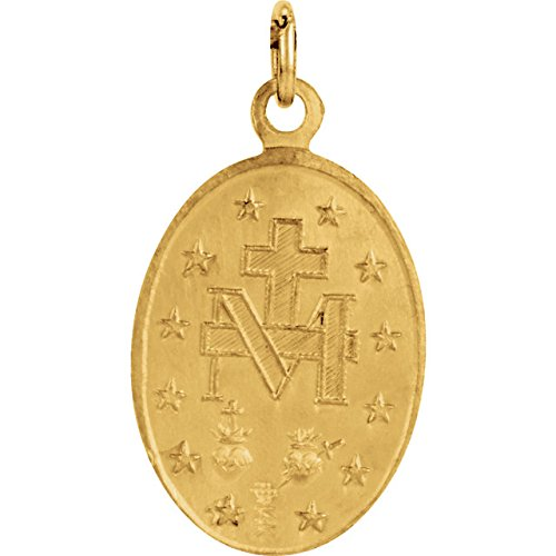 14k Yellow Gold Oval Miraculous Medal (14.75x11 MM)