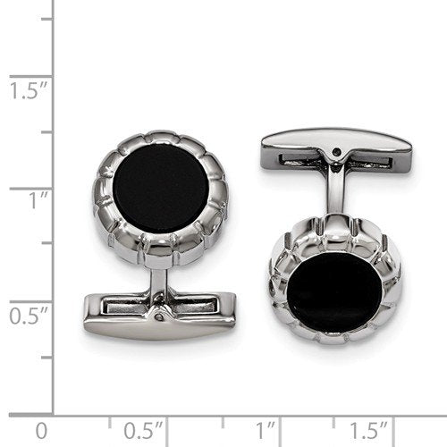Stainless Steel Black IP-Plated Scalloped Round Cuff Links