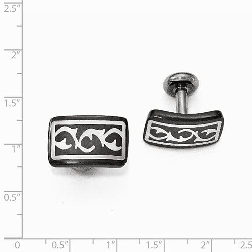 Thorn Collection Black Titanium and Sterling Silver Thorn Cuff Links