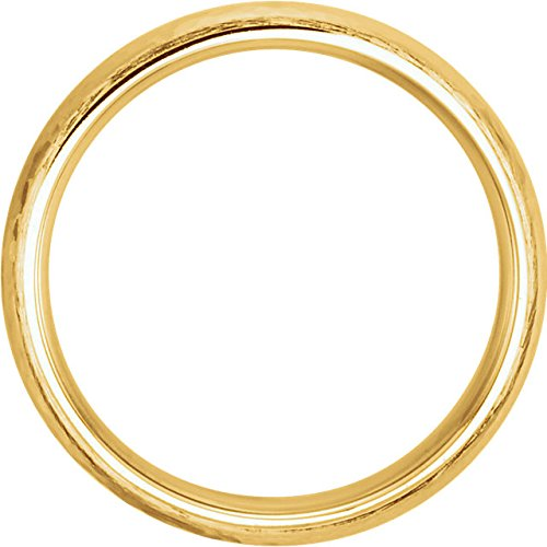 14k Yellow Gold Hammer Finished 5mm Comfort Fit Dome Band, Size10.5