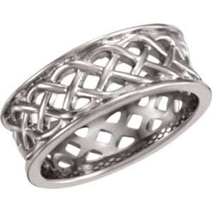 Open-Cut Celtic Knot Band, Rhodium-Plated 14k White Gold 8mm