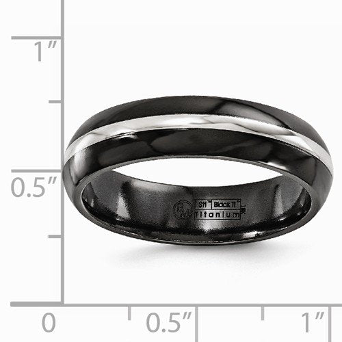 Gold Inlay Collection Black Titanium, 14k White Gold Domed 6mm Band