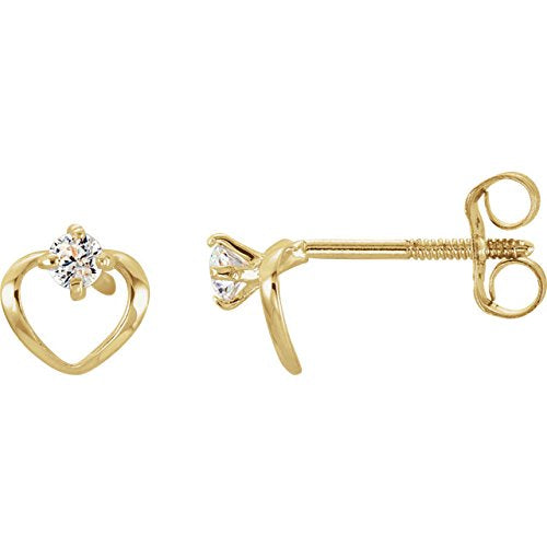 Childrens 14k Yellow Gold Open Heart and CZ Earrings