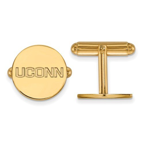 14K Yellow Gold University Of Connecticut Cuff Links, 16MM