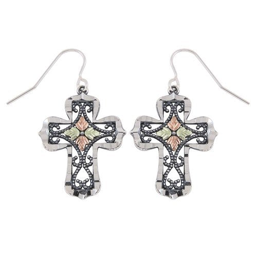 Granulated Bead Scroll Oxidized Cross Earrings, Sterling Silver, 12k Green and Rose Gold Black Hills Gold Motif
