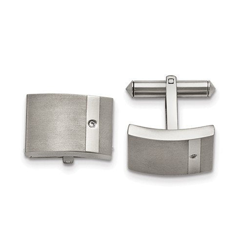 Grey Titanium Satin-Brushed Polished, Clear Cubic Zirconia bullet back Cuff Links