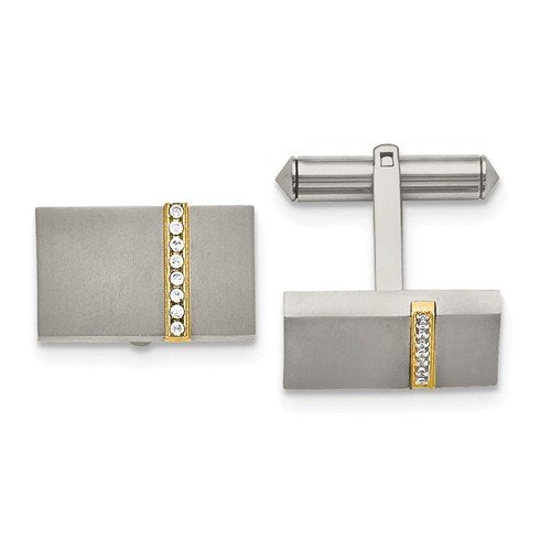 Yellow IP-Plated Grey Titanium Satin-Brushed Cubic Zirconia Rectangle Cuff Links