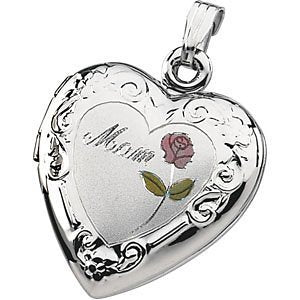 Mom Heart and Flower Locket in Sterling Silver