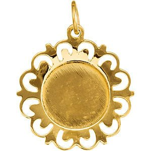 14k Yellow Gold Round St. Patrick Medal (18.5MM)