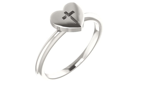 Heart with Cross Sterling Silver Slim Profile Ring, Size 6.5