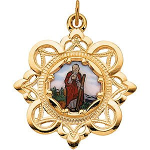 10k Yellow Gold St. Jude Framed Enamel Pendant (25.75x25.75MM)