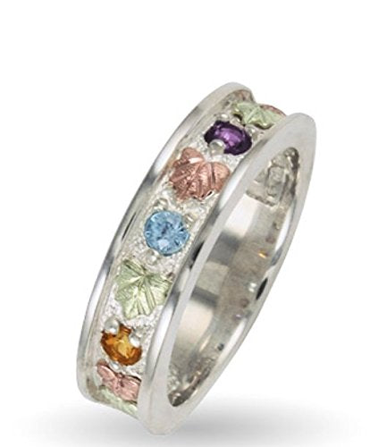 Womens Sterling Silver, 12k Green Gold, 12k Pink Gold Three Diamonds Ring, Sizes 4, 4.5, 5, 5.5, 6, 6.5, 7, 7.5, 8, 8.5, 9