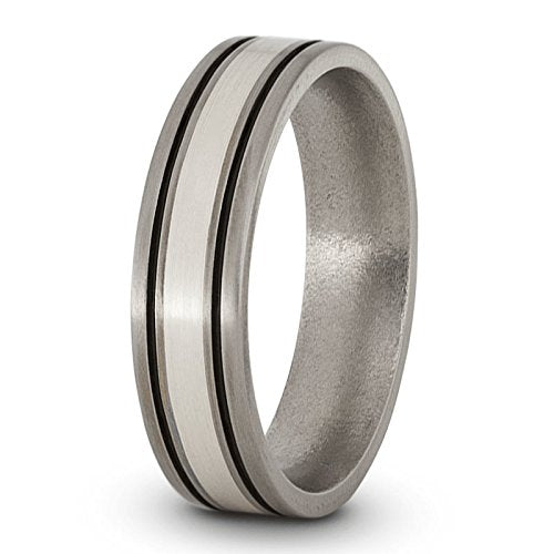 Satin Brushed Titanium, Sterling Silver and Black Pinstripes 6mm Comfort-Fit Dome Wedding Band