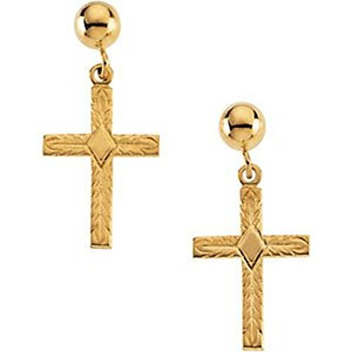 14k Yellow Gold Cross Dangle Earring