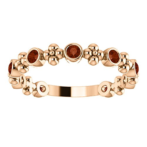 Genuine Mozambique Garnet Beaded Ring, 14k Rose Gold, Size 6.75