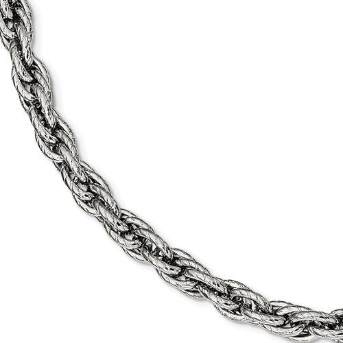 Men's Stainless Steel Polished Textured Rope Bracelet 8""